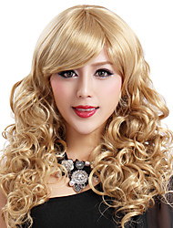 cheap -capless long high quality synthetic blonde curls wig side bang