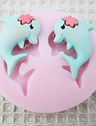 Недорогие -Пара Dolphin силиконовые формы Фондант Пресс-формы Сахар Craft Инструменты Chocolate Форма для тортов