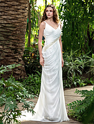 cheap -Sheath / Column V Neck Court Train Chiffon Made-To-Measure Wedding Dresses with Bowknot / Beading / Criss-Cross by LAN TING BRIDE® / Open Back