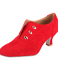 Women's Dance Shoes Practice Shoes/Ballroom/Modern Suede Chunky Heel Black/Brown/Red
