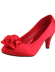 Women's Spring Summer Fall Velvet Wedding Stiletto Heel Flower Red Red