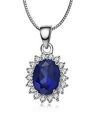 1.5 Carat Sapphire pendentif pour femmes en argent fin plaqué d'or blanc