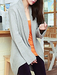 Folli Korean Light Color langærmet Strik Coat (Gray)