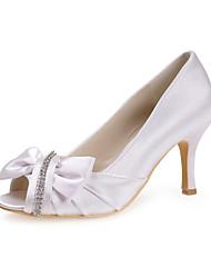 sapatos femininos espiar bombas de salto agulha de cetim dedo do pé com sapatos bowknot mais cores disponíveis