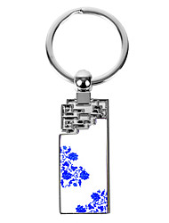 cheap -Personalized Engraved Gift Creative Blue and White Lotus Pattern Keychain