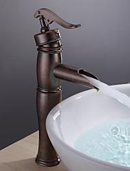 Antico Lavabo Cascata with  Valvola in ceramica Uno Una manopola Un foro for  Rame anticato , Lavandino rubinetto del bagno