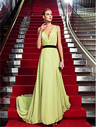 Sheath / Column V-neck Sweep / Brush Train Chiffon Formal Evening Dress with Lace Side Draping by TS Couture®