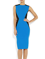 Meiyishen Ženska Blue Waist Split Zajednički Slim Dress