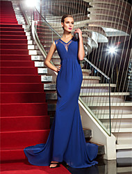 Mermaid / Trumpet V-neck Sweep / Brush Train Chiffon Lace Formal Evening Dress with Side Draping by TS Couture®