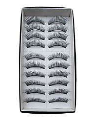 cheap -10 Pairs European Human Hair EyeLash Black False Eyelashes Cosmetic Beauty Care Makeup for Face