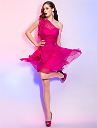 cheap -A-Line Princess One Shoulder Short / Mini Chiffon Cocktail Party Homecoming Holiday Dress with Crystal by TS Couture®