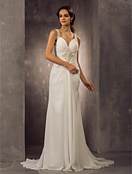 cheap -Sheath / Column Straps Sweep / Brush Train Chiffon Made-To-Measure Wedding Dresses with Beading / Ruched by LAN TING BRIDE®