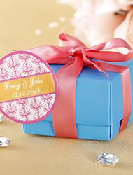 Adesivi Favor rotondi personalizzati - rosa con stampa floreale (set di 36)