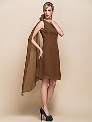 abordables -Trapèze Une Epaule Mi-long Mousseline de soie Robe de Mère de Mariée  avec Pan drapé par