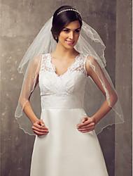Wedding Veil Two-tier Elbow Veils Pencil Edge Tulle White Ivory A-line, Ball Gown, Princess, Sheath/ Column, Trumpet/ Mermaid
