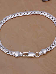 Sweet 20cm Women's Silver Copper Chain & Link Bracelet(Silver)(1 Pc)