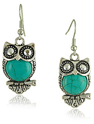 cheap -Vintage Style Green OWL Turquoise Women's Drop Earrings