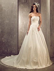 cheap -A-Line Princess Sweetheart Court Train Satin Tulle Custom Wedding Dresses with Beading Appliques Sash / Ribbon by LAN TING BRIDE®