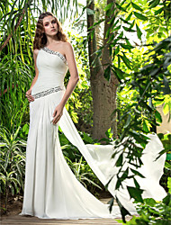cheap -Sheath / Column One Shoulder Sweep / Brush Train Chiffon Wedding Dress with Crystal Side-Draped by LAN TING BRIDE®