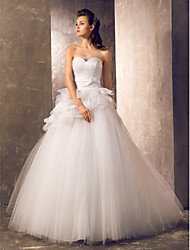 cheap -A-Line / Princess Sweetheart Neckline Sweep / Brush Train Tulle Made-To-Measure Wedding Dresses with Bowknot / Sash / Ribbon / Ruched by LAN TING BRIDE®