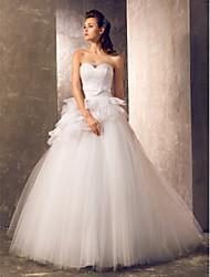abordables -Corte en A / Princesa Escote Corazón Larga Tul Vestidos de novia hechos a medida con Pajarita / Cinta / Lazo / Fruncido por LAN TING BRIDE®