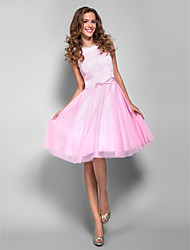 cheap -A-Line Bateau Neck Knee Length Lace Tulle Cocktail Party Homecoming Prom Holiday Dress with Bow(s) by TS Couture®