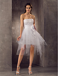 Sheath / Column Strapless Short / Mini Tulle Wedding Dress with Sash / Ribbon Flower Ruche by LAN TING BRIDE®