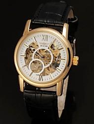 abordables -Automático para Hombre Blanco Dial Negro PU banda de cuero reloj de pulsera de oro Hollow