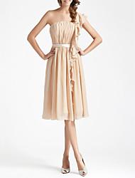 cheap -Sheath / Column One Shoulder Knee Length Chiffon Bridesmaid Dress with Draping Sash / Ribbon Ruffles by LAN TING BRIDE®