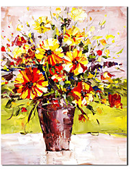 cheap -Hand Painted Oil Painting Still Life Blooming Yellow with Stretched Frame
