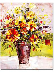 Peint à la main Peinture à l'huile de la vie de floraison toujours jaune avec cadre tendu