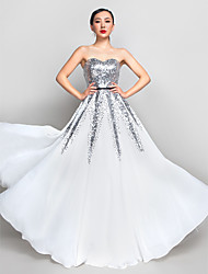 A-Line Sweetheart Floor Length Chiffon Sequined Prom Formal Evening Military Ball Dress with Sequins by TS Couture®