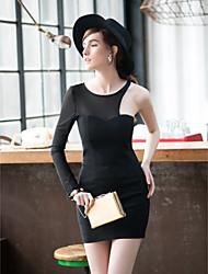 Moulante Robe Femme Habillées Sexy,Couleur Pleine Col Roulé Mini Sans Manches Noir Polyester Spandex Eté Elastique Fin