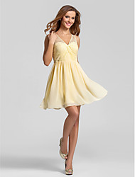 cheap -A-Line V-neck Short / Mini Chiffon Bridesmaid Dress with Lace Criss Cross Ruching by LAN TING BRIDE®