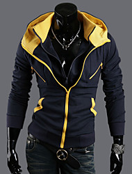 Men's Contrast Colors Two Pieces Like Slim Hoodie Jacket