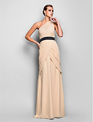 cheap -Sheath / Column One Shoulder Floor Length Chiffon Formal Evening Military Ball Dress with Criss Cross Side Draping by TS Couture®