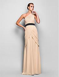 economico -A tubino Monospalla Lungo Chiffon Schiena scoperta Serata formale Vestito con Drappeggio di lato / A incrocio di TS Couture®
