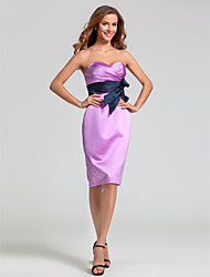 Sheath / Column Sweetheart Knee Length Satin Bridesmaid Dress with Bow(s) Criss Cross Ruching by LAN TING BRIDE®
