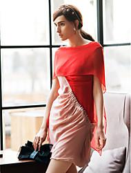 Недорогие -ц цвет блока коровы шеи шелкового платья