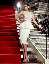 economico -TS Couture Cocktail Per eventi Vestito - Formale Stile VIP A tubino Stondata Al ginocchio Di pizzo Raso con Di pizzo A pieghe