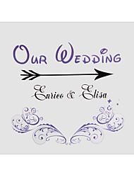 Недорогие -Персонализированные Винтаж Фиолетовый Цветочные Индикатор Pattern Свадебный