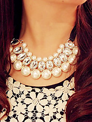 cheap -Pearl Imitation Pearl Rhinestone Fabric Alloy Collar Necklace Pearl Necklace Statement Necklace - Synthetic Gemstones Pearl Imitation