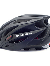 MOON Cycling Bike Helmet 21 Vents Black PC/EPS Protective Ride Helmet Adults Kids One Piece Ultra Light (UL) Adjustable with Googles Sports Helmet