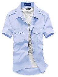 Men's Stylish Solid Color Slim Shirt (Acc Not Included, Neck Label Random)