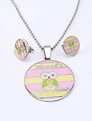 Sweet Pink acciaio di titanio (Collane e orecchini) Jewelry Sets epoca