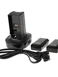 Dual Charger Charging Station Dock and 2 Batteries for Xbox 360 Controller (Black)