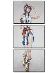 Handgemalte Menschen Drei Paneele Leinwand Hang-Ölgemälde For Haus Dekoration