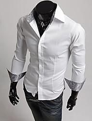 Masculino Camisa Casual Color Block Manga Comprida Algodão Preto / Vermelho / Branco
