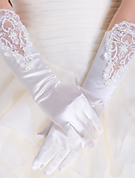 cheap -Lace Polyester Satin Elbow Length Glove Classical Bridal Gloves Party/ Evening Gloves With Solid