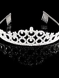 お買い得  -クリスタル / ラインストーン フラワー - ティアラ / 帽子 1個 結婚式 / パーティー かぶと